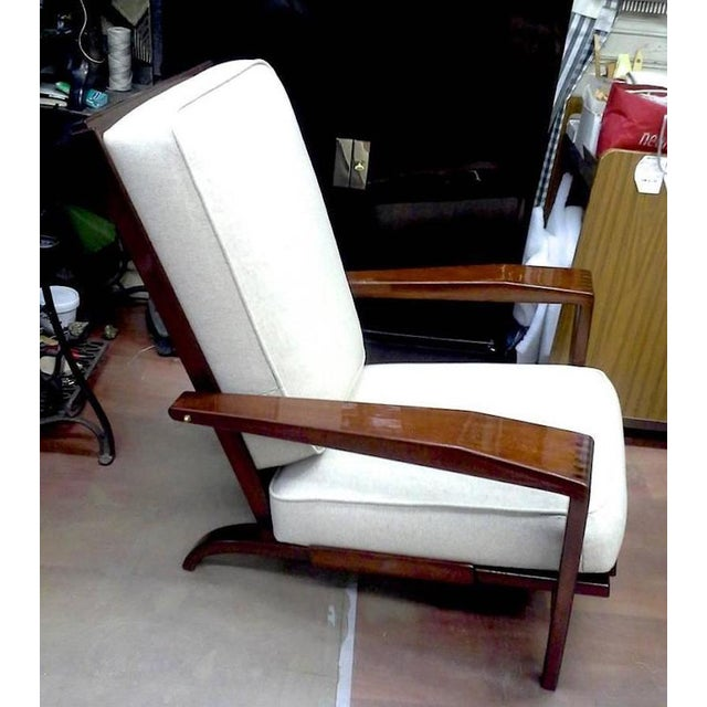 Mid-Century Modern Andre Sornay Comfortable Pair of Lounge Chair Newly Restored in Neutral Cloth For Sale - Image 3 of 5