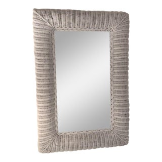 White Wicker Framed Wall Mirror in the Style of Henry Link For Sale