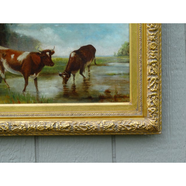 Antique Continental School Cattle Oil Painting For Sale - Image 4 of 9