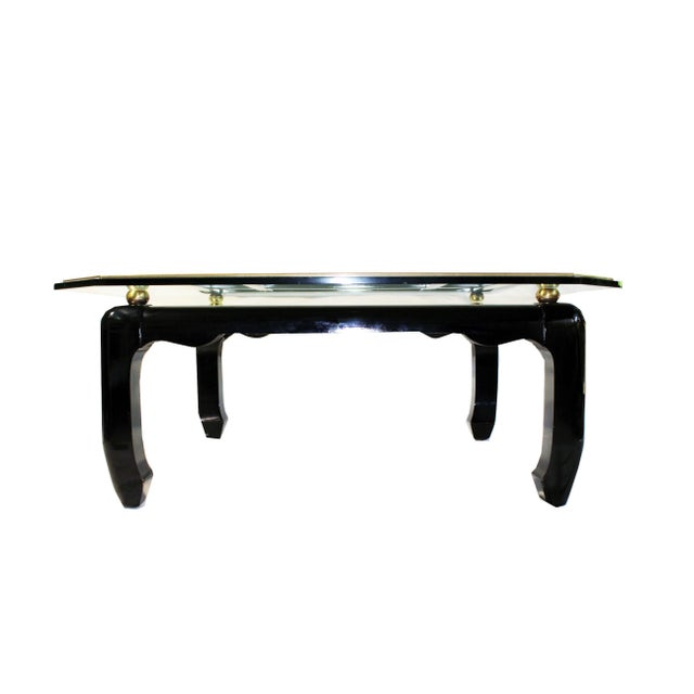Vintage Ming-Style Chinoiserie Black Lacquered & Gold Brass Coffee Table With Glass Top For Sale - Image 4 of 13