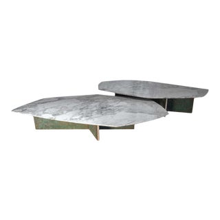 Geometrik Coffee Table Set, Oxidized Brass and Marble by Atra - 2 Pieces For Sale