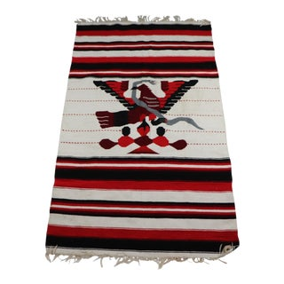 1950s Vintage Handwoven Aztec Tenochtitlan Eagle Snake Blanket / Rug - 4′ × 6′8″ For Sale