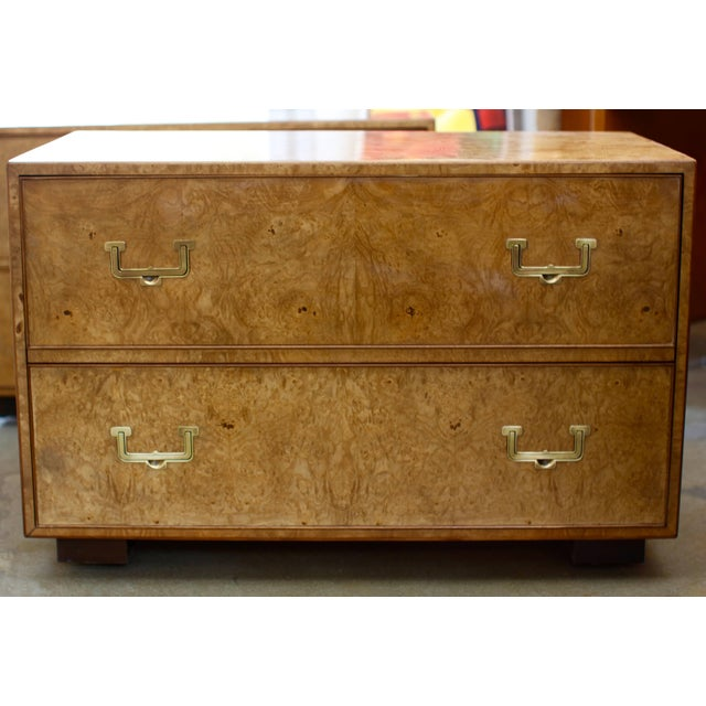 Gold Mid Century Vintage Widdicomb Campaign Styles Nightstand in Burlwood- A Pair For Sale - Image 8 of 13