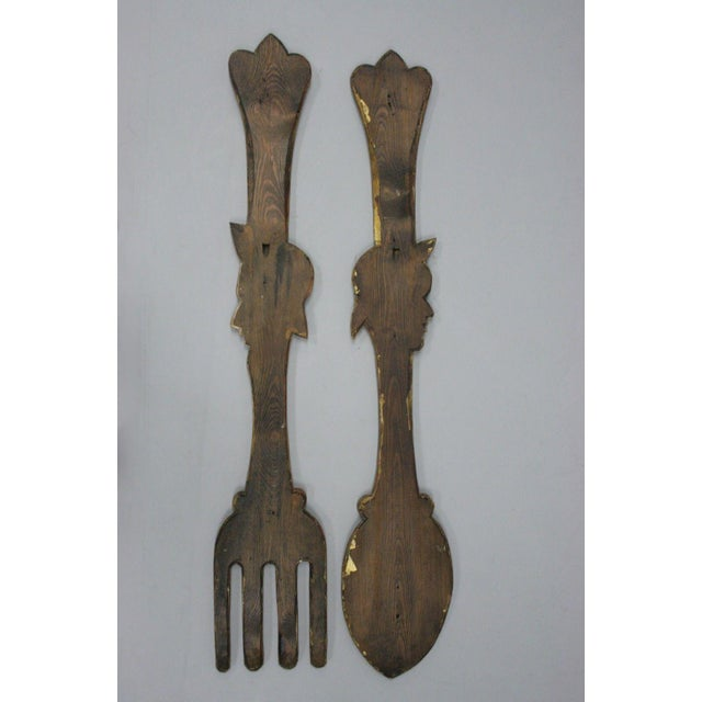 Italian Anri Style Large Carved Wood Wall Decor Fork Spoon Man Woman Set 2 Piece