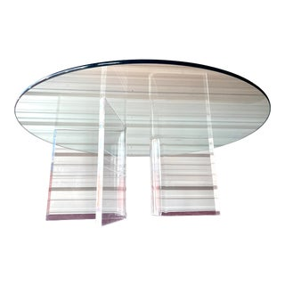Mid Century Modern Lucite Base Glass Top Coffee Table For Sale