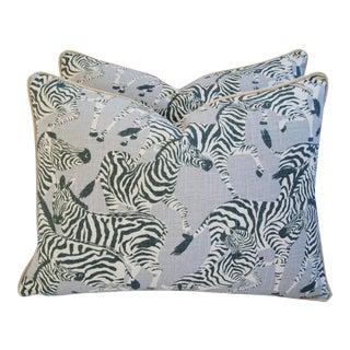 """24"""" X 18"""" Custom Safari Zebra Linen & Velvet Feather/Down Pillows - Pair For Sale"""