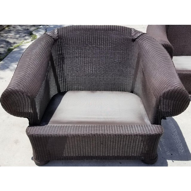Mid-Century Modern Lloyd Flanders Loom Wicker Weather Resistant Lounge Chair with Custom Cushions For Sale - Image 3 of 5
