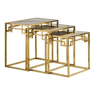 Brass and Rose Gold Italian Mirrored Glass Nesting Tables For Sale