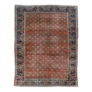 Antique Hand Knotted Wool Mahal Rug - 8′9″ × 11′3″ For Sale