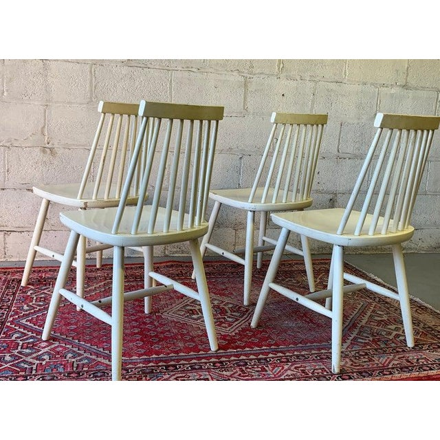 Danish Modern Mid Century Modern Spindle Back Dining Chairs - Set of 4 For Sale - Image 3 of 9