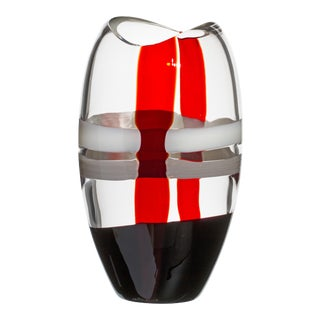 Carlo Moretti Ellisse Vase in Ivory, Red, and Black Streaks For Sale