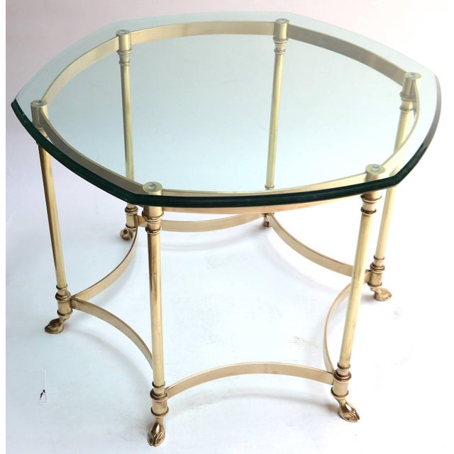 Hexagonal Brass Side Table With Glass Top and Goat Feet For Sale In Los Angeles - Image 6 of 10