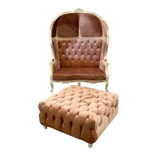 Champagne Tufted Velvet Balloon Chair & Bench For Sale