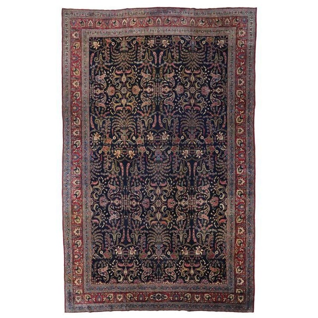 Textile Antique Persian Mashhad Rug with Traditional Modern Style For Sale - Image 7 of 9