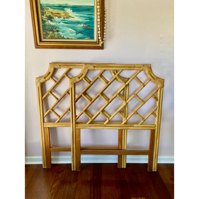 Very good condition Chippendale styled rattan twin headboards. Palm beach chic! No breaks, cracks nor unraveling....