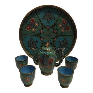 Antique Cloisonné Wine Pot Cups & Tray For Sale