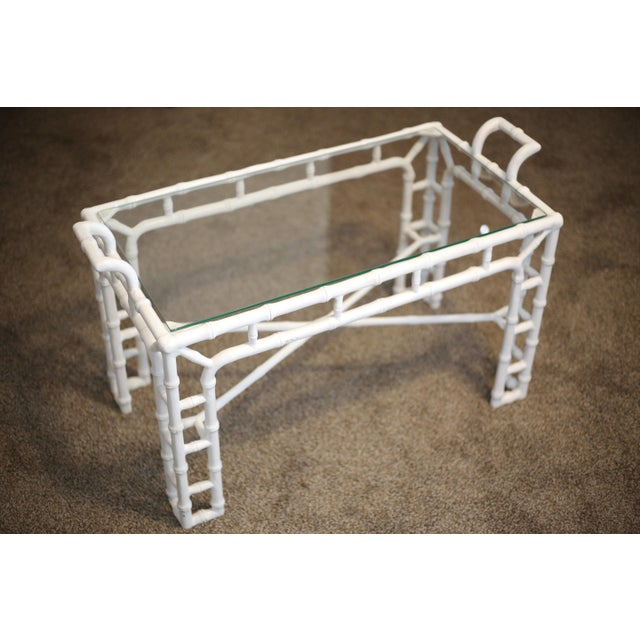Vintage Faux Bamboo Metal and Glass Cocktail Table - Regency For Sale In Tampa - Image 6 of 12
