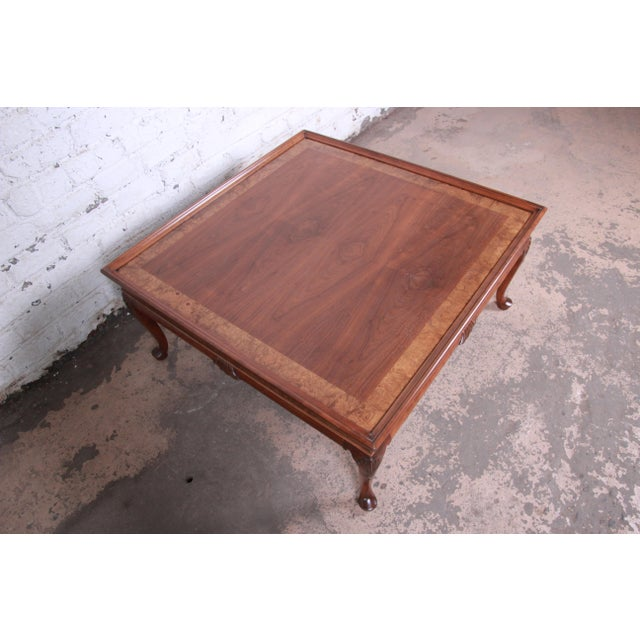 Baker Furniture Queen Anne Walnut and Burl Wood Large Square Coffee Table, Newly Refinished For Sale - Image 9 of 11
