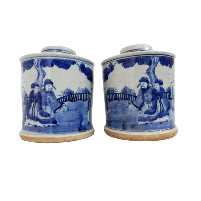 B & W Ginger Jars - A Pair - Image 1 of 6