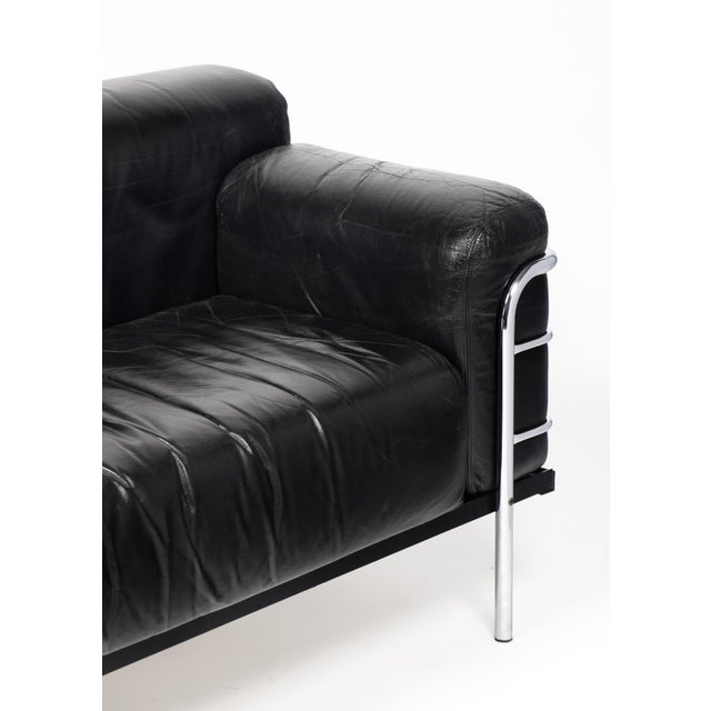 Vintage Le Corbusier Style Leather and Chrome Sofa For Sale - Image 9 of 10