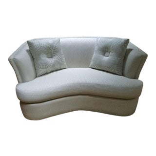 Contemporary Off-White Upholstered Loveseat with Pillows - 3 Pieces For Sale