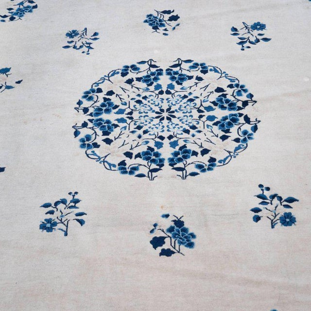 Large Scale Chinese Art Deco Rug in Cream and Navy with Floral Motifs For Sale - Image 9 of 10