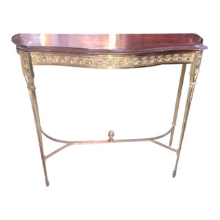 Mid Century French Bonze Demi-Lune Console Table With Stretcher