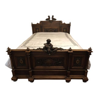 19th Century Italian Cherub Carved Bed For Sale