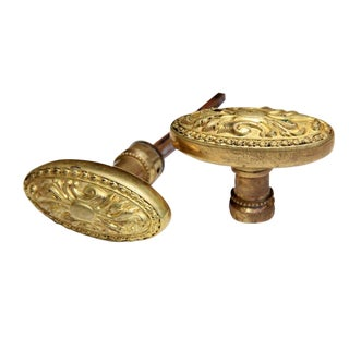19th Century Antique French Gilt Bronze Door Knobs - a Pair For Sale
