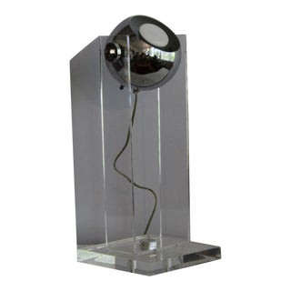 Sonneman Style 1970s Lucite and Chrome Table Lamp For Sale