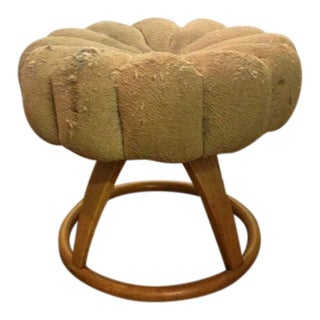 Heywood Wakefield Vanity Pouffe Stool With Revolving Top For Sale