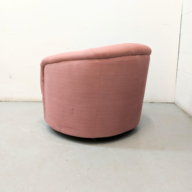 Modern Pink Barrel Back Lounge Chairs- A Pair For Sale In Chicago - Image 6 of 12