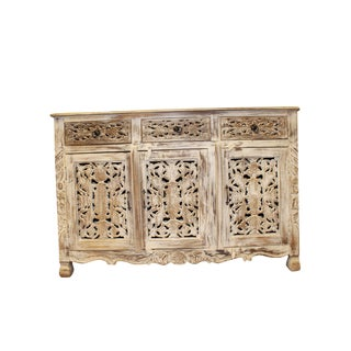 1920s Art Nouveau Whitewashed Floral Hand Carved Chest For Sale