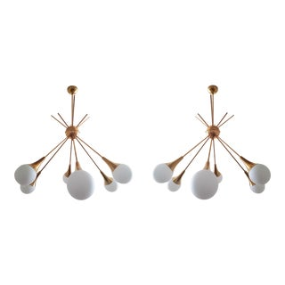 Large Brass & Glass Sputnik Chandeliers, Stilnovo Style, 1970s - a Pair For Sale