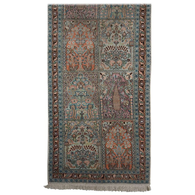Persian Pale Blue Field Silk Runner Rug - 2′ × 10′ For Sale In Los Angeles - Image 6 of 6