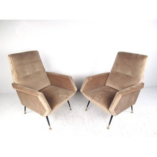 Pair Italian Modern Modern Zanuso Style Lounge Chairs Preview