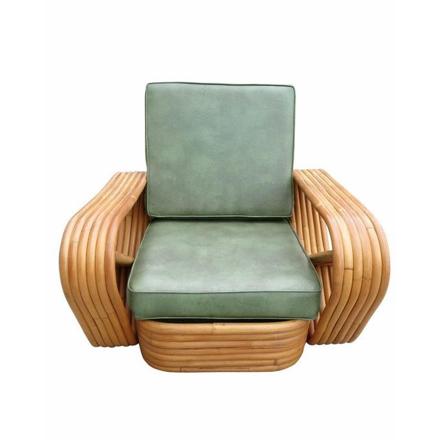 Hollywood Regency Paul Frankl Style Six-Strand Square Pretzel Rattan Lounge & Ottoman For Sale - Image 3 of 5