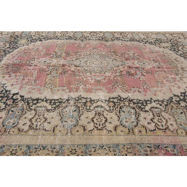 Traditional Distressed Vintage Mashad Rug For Sale - Image 3 of 5