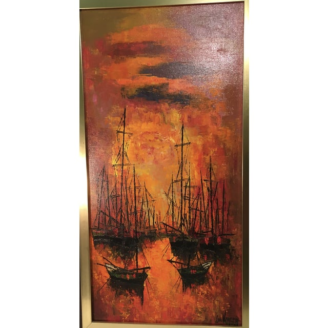 Vintage 1960s Abstract Sailboats Painting - Image 4 of 9