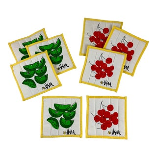 Mid-Century Vera Fabric Cherries & Limes Coasters, S/8 For Sale