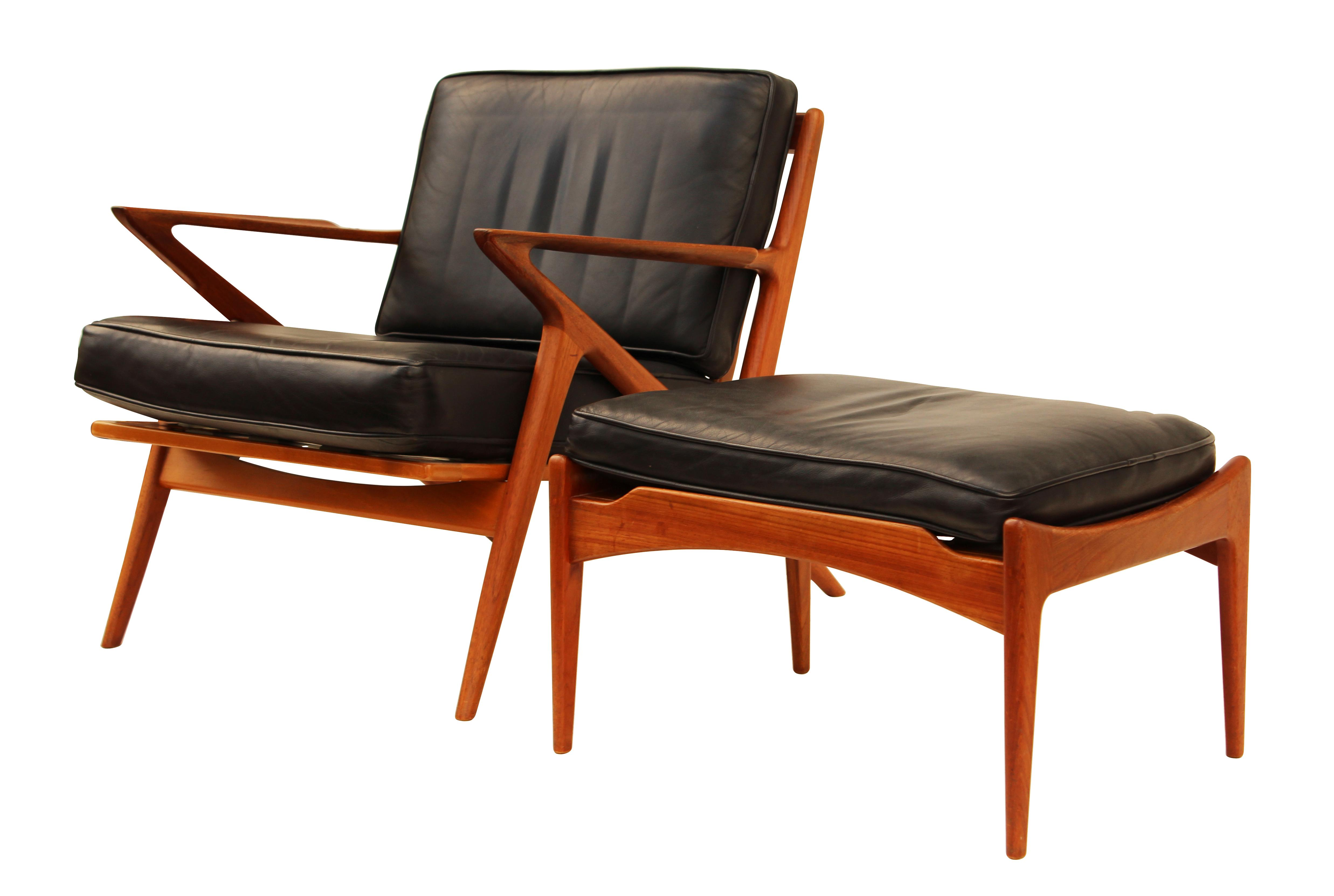 Selig Poul Jensen For Selig Teak And Leather Z Chair U0026 Ottoman For Sale    Image