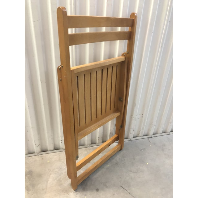 Camel 1960s Vintage Danish Romanian Wood Folding Dining Chair For Sale - Image 8 of 11