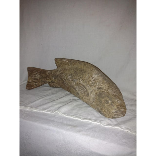 Asian Vintage Carved Clay Fish Sculpture For Sale - Image 3 of 7
