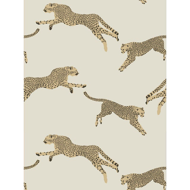 Scalamandre Leaping Cheetah Wallpaper, Beige, 8 Yards For Sale