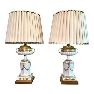 1950s Marbro Hollywood Regency Style White & Gold Porcelain Lamps - a Pair For Sale