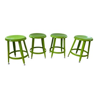 Crate & Barrel Kid's Bright Green Metal Stools- Set of 4 For Sale