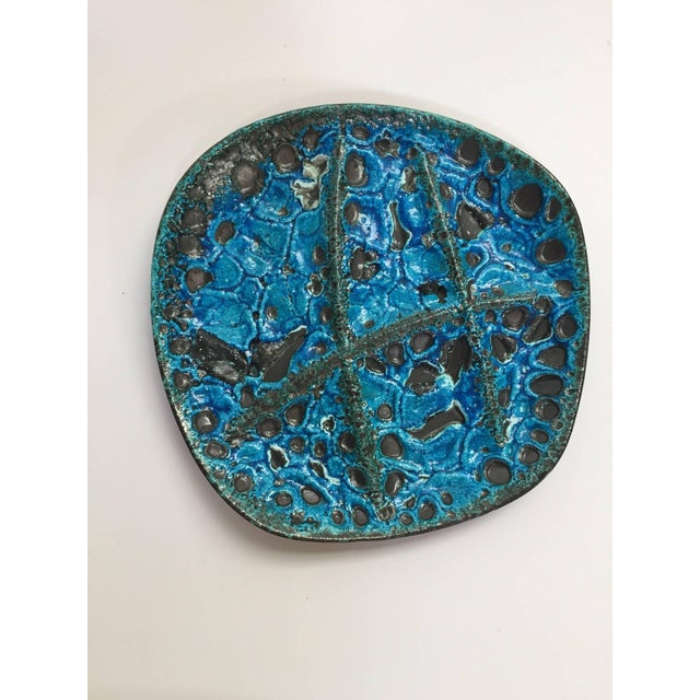 Vintage French Set of Three Glazed Painted Stoneware Plates in Blue Lava, 1970s For Sale - Image 10 of 11