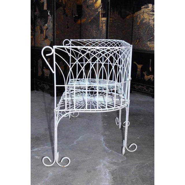 1920s French Wrought Iron and Wire Garden Patio Set For Sale - Image 5 of 10