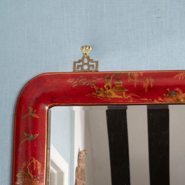 1980s Chinoiserie Red Lacquered Mirrors - a Pair For Sale - Image 5 of 11
