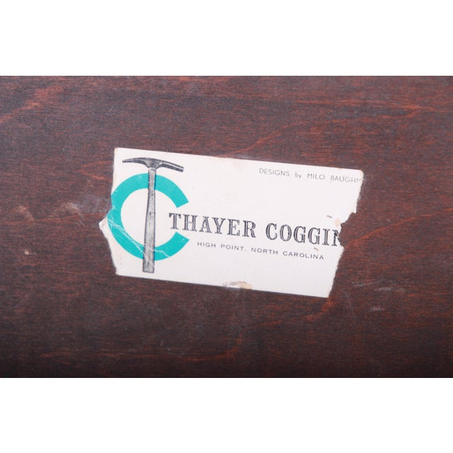 Brown Milo Baughman for Thayer Coggin Walnut and Ebonized Wood Side Tables, Newly Restored For Sale - Image 8 of 9